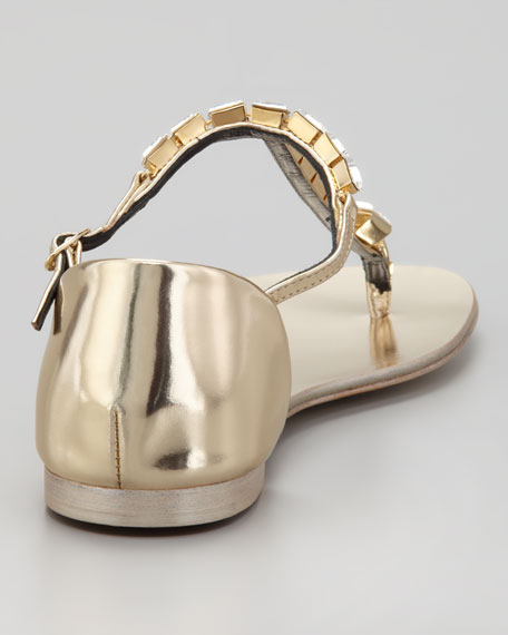 Jeweled T-Strap Flat Thong Sandal, Gold
