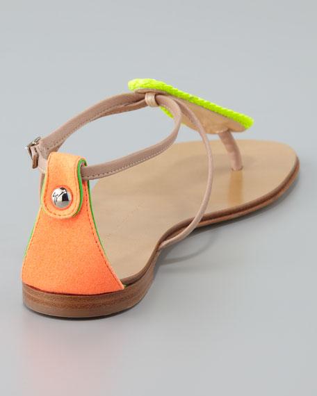 Neon Teardrop T-Strap Flat Sandal