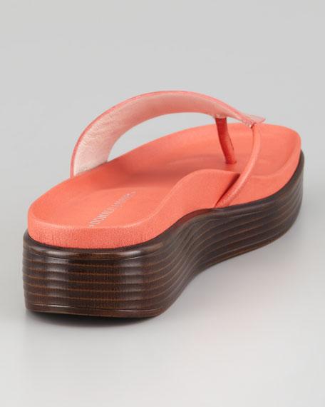 Fifi Patent-Strap Slide Thong Sandal, Salmon