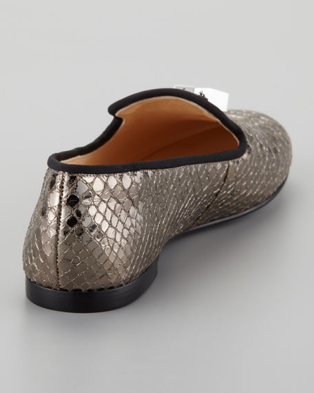 Snake-Print Smoking Slipper, Gray