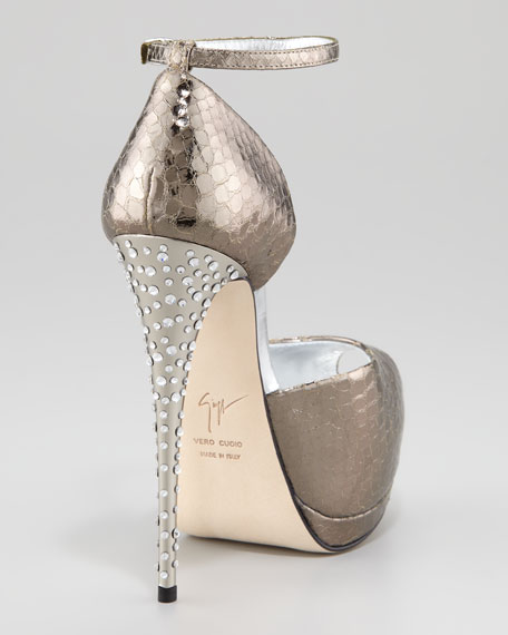 Giuseppe Zanotti Metallic Snake-Print Ankle-Wrap Pump