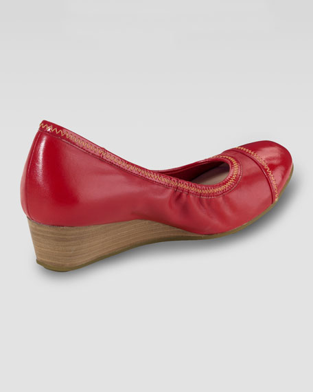 Milly Cap-Toe Wedge Pump, Cherry Tomato