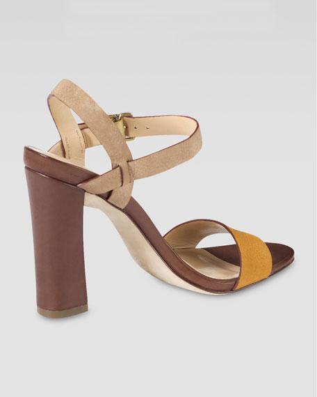 Minetta Chunky-Heel Sandal, Citrine/Sandstone