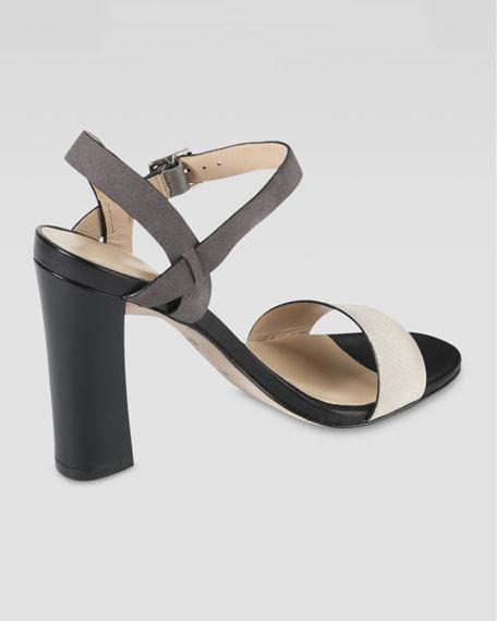 Minetta Chunky-Heel Sandal, Ivory/Gull Gray
