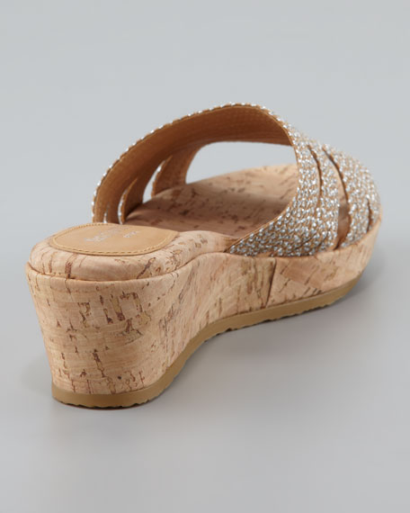 Squishee Braided Raffia Slide Sandal, Natural/Frost
