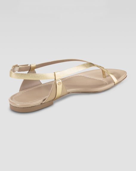 Inwood Flat Thong Sandal, Platino Metallic