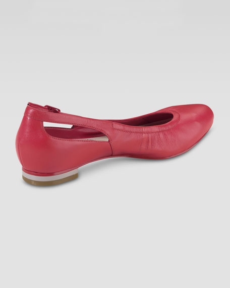 Palisade Almond Toe Ballerina Flat, Cherry Tomato