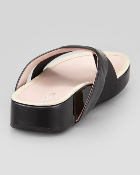 Argyle Patent Thong Sandal, Black