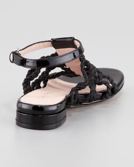 Italia Stretch Braided Ankle-Strap Sandal, Black