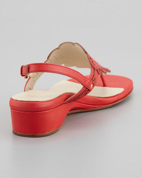 Kingston Eyelet Cutout Low Wedge Thong Sandal, Coral