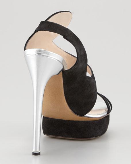Suede Swirl Metallic Sandal