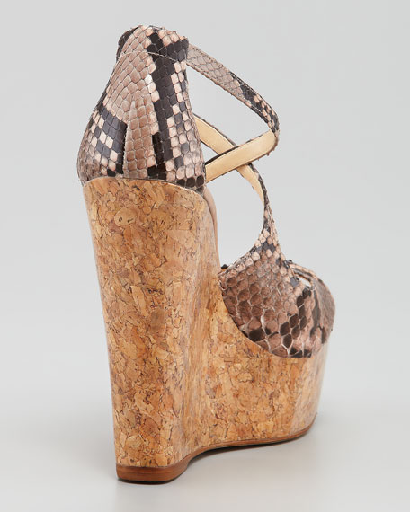 Python Cork Wedge, Light Pink