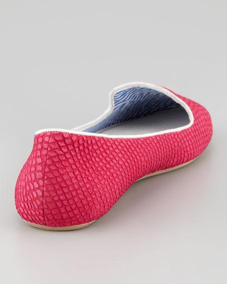 Lizette Python-Embossed Slip-On Loafer, Pink