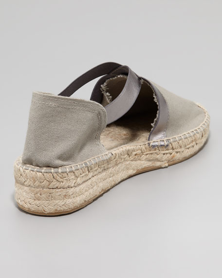 Lasso Stretch Metallic Espadrille, Gray/Silver
