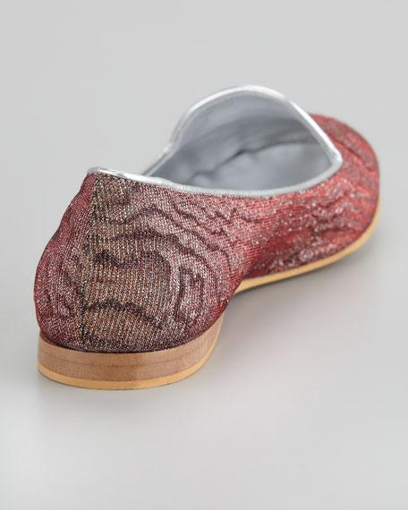 ReeRee Damask Hologram Smoking Slipper, Red/Gold