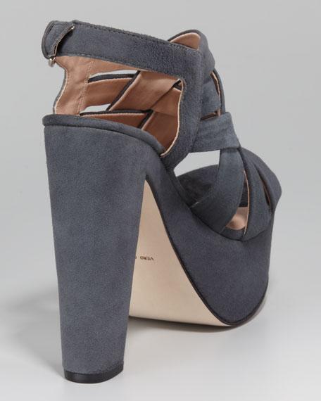Glenna Woven-Strap Suede Platform Sandal, Charcoal