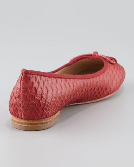 Licia Snake-Embossed Ballerina Flat, Lipstick Red