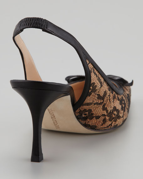 Olaschi Lace and Cork Slingback Pump