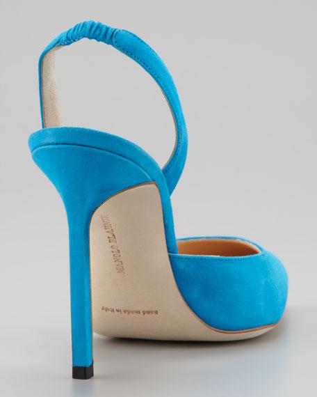 Carolyne Suede High-Heel Halter, Blue