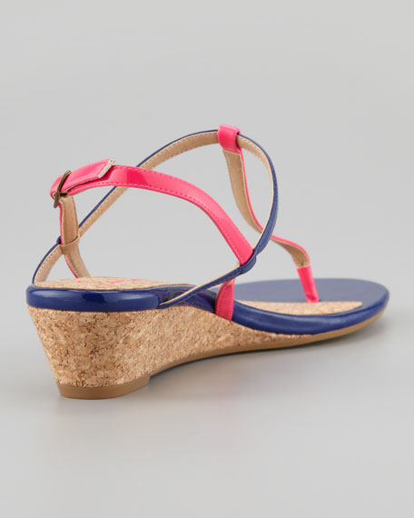 Edgewood Low-Wedge Sandal, Flamingo/Navy