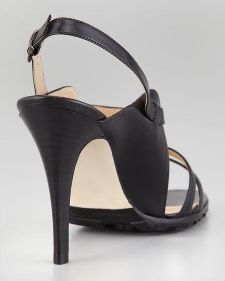 Dodo Double-Band Patent Sandal, Black
