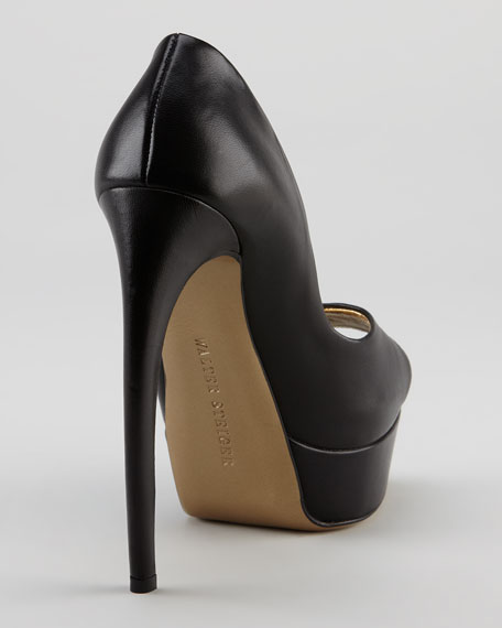 Bowed-Heel Leather Platform Pump, Black