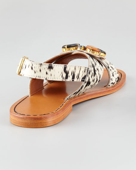 Crisscross Facet Calf Hair Sandal