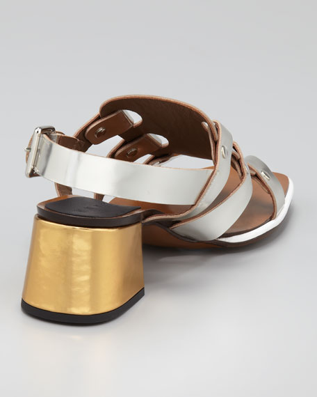Mid-Heel Mirrored Leather Sandal