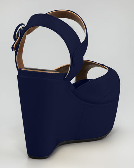 Shiny Leather Ankle-Wrap Wedge