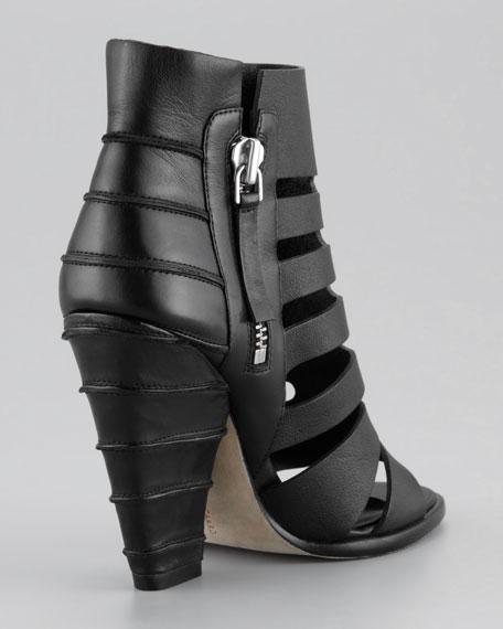 Cage-Line Cuban-Heel Sandal, Black
