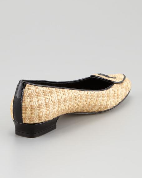 Laura Woven Raffia Belgian Loafer, Black/Natural