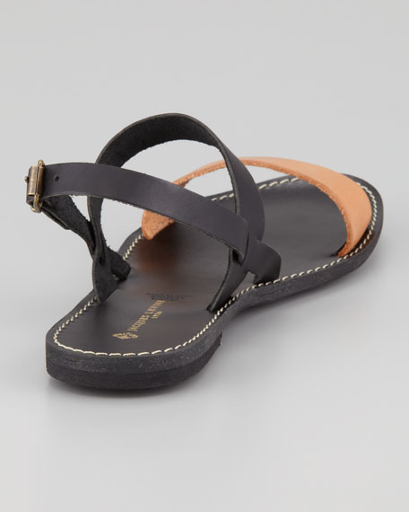 Stella Flat Colorblock Sandal, Black/Blush