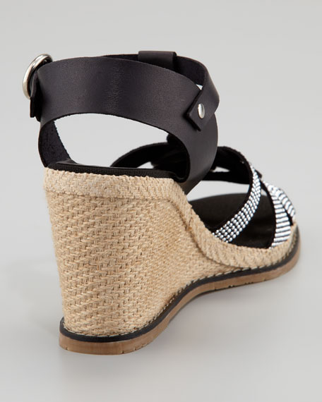 Studded Vachetta Espadrille Wedge Sandal, Black