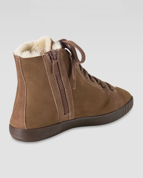 Air Tali City Fur-Lined Ankle Boot, Dark Amber