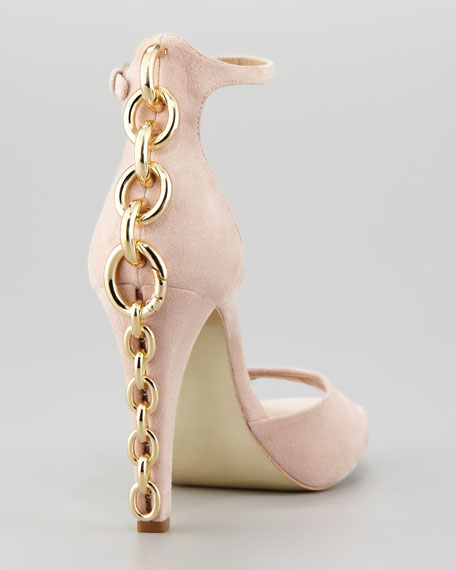Sofia Chain-Back Runway Sandal, Nude