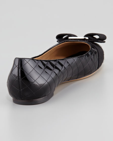 Isea Quilted Patent Leather Flat, Black