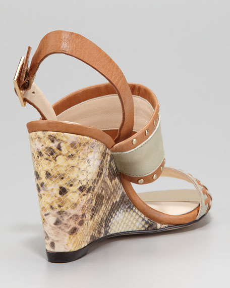 Imperia Snake-Print Wedge Sandal, Brown Sugar/Slate