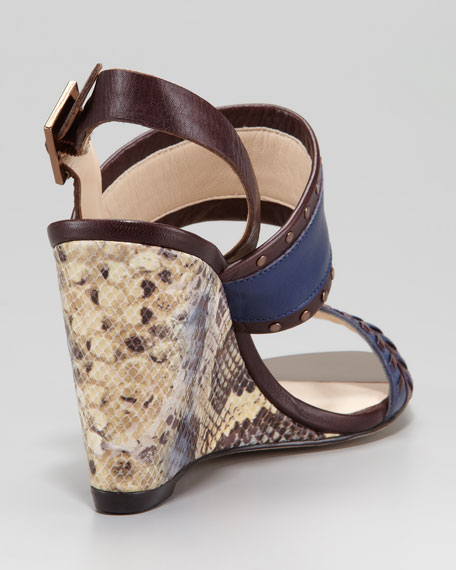 Imperia Snake-Print Wedge Sandal, Espresso/Twilight