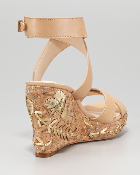 Mira Detailed Cork Wedge Sandal
