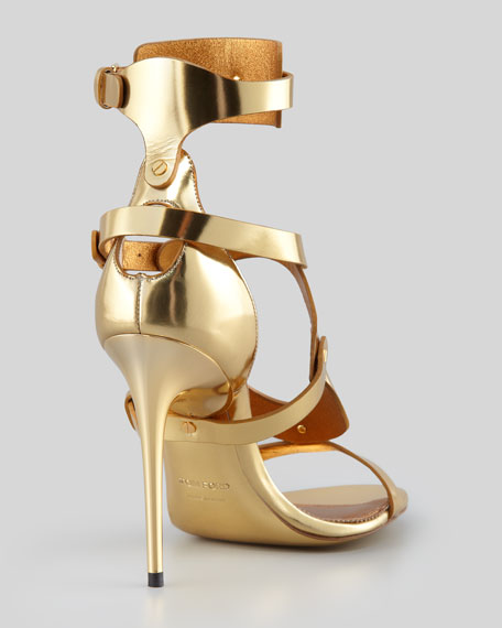 Triple-Buckle Metallic Sandal, Gold