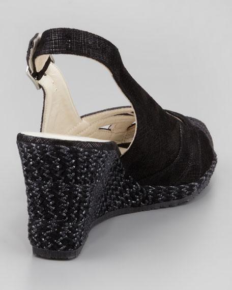 Julie Peep-Toe Slingback Espadrille, Black