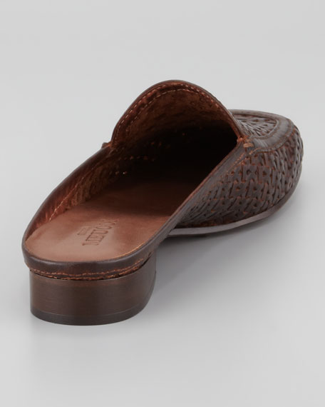 Myrtisa Woven Leather Slip-On Mule, Brown