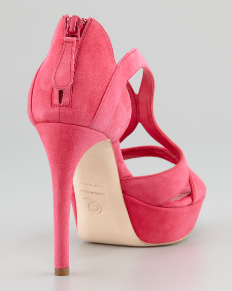 Low-Heel Double-Arched Suede Sandal, Pop Pink