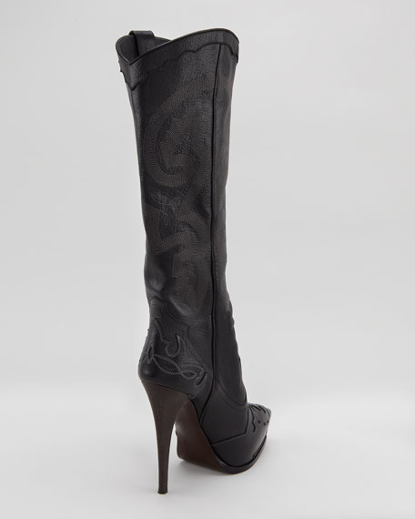 High-Heel Cowboy Boot, Black
