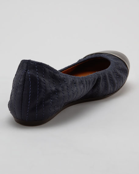 Scrunched Metallic-Toe Ballerina Flat, Midnight Blue