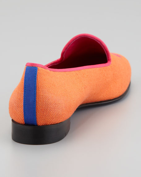 Audrey Linen Smoking Loafer, Orange/Pink