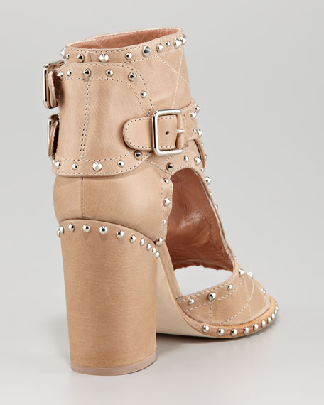 Studded Open-Toe Buckle Boot, Beige/Silver