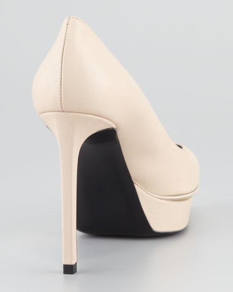 Janis Pointed-Toe Platform Pump, Poudre