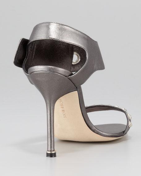 Koyru Studded Ankle-Wrap Sandal, Anthracite