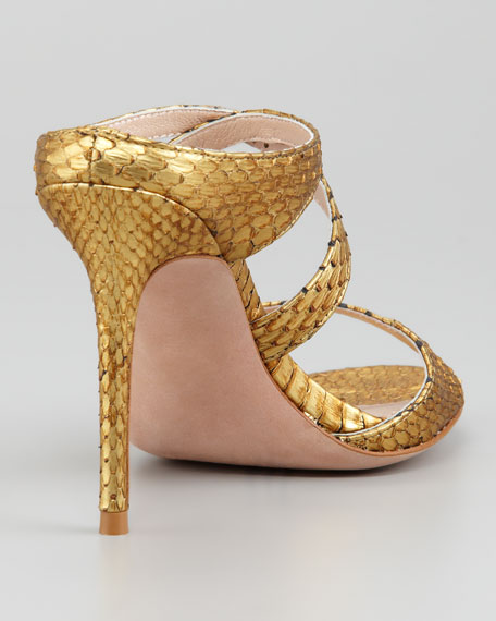 Metallic Snake Sandal, Old Gold